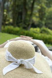 Lady sleeping in park Royalty Free Stock Photos