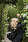 Lady  smelling a rose ih a baroque park Stock Image