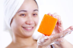 Lady With Soap Bar Stock Photo