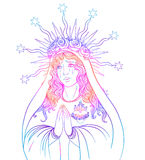 Lady of Sorrow. Devotion to the Immaculate Heart of Blessed Virg Stock Photo