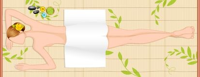 Lady in Spa. Editable vector illustration of lady relaxing in spa Royalty Free Stock Photo