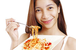 Lady With Spaghetti Stock Photography