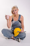 Lady with spanner Stock Images