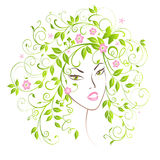 Lady Spring. Portrait pretty girl with flourish hair Royalty Free Stock Photo