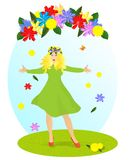 Lady spring, cdr vector Stock Photography