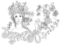 Lady spring. Hand drawn cute face. Stock Photo