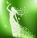 Lady Spring. Woman silhouette consisting of flowers Royalty Free Stock Photography
