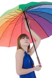 Lady standing with color umbrella Stock Photo