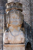 Lady statue on the entrance of Porte Narbonnaise at Carcassonn Stock Image