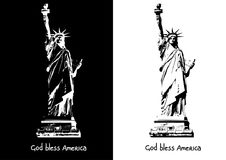 The statue of Liberty New York Independence eps ai jpg vector image black and white silhouette. The statue of Liberty is the symbol of New York. Monochrome Stock Image