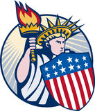 Lady statue of liberty torch shield Stock Images
