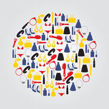 Lady stuff needs color icons set in circle Stock Images