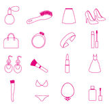 Lady stuff needs simple outline icons set Stock Photo