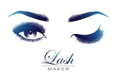 Lady stylish eye and brows with full lashes. Lady stylish opened eye and brows with full lashes, beautiful women eyes makeup. Lash maker logo. EPS 10 royalty free illustration