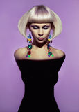 Lady with stylish hairdo. Fashion art photo of beautiful lady with stylish hairdo stock photography