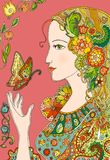 Lady Summer with flowers and butterflies. Colorful doodle Stock Photos