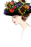 Lady summer. Profile gentle girl in a black hat with summer flowers and fruits, bright colors, white background, illustration stock illustration