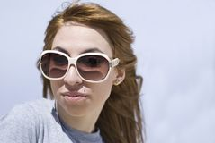 Lady with sunglass Royalty Free Stock Images