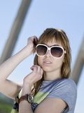 Lady with sunglass Royalty Free Stock Photography