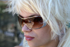 Lady in Sunglasses. Reflection Royalty Free Stock Photos