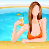 Lady in Swimming Pool Stock Photography