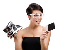 Lady takes snapshots with cassette camera Stock Photos