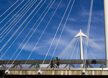 Lady taking a picture from Hungerford Bridge Royalty Free Stock Photo