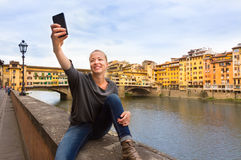 Lady taking selfie in Florence. Stock Photography