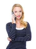 Lady talk to phone Stock Photo