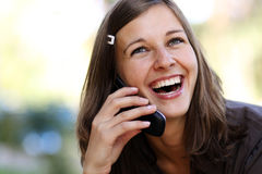 Lady talking on mobile phone Royalty Free Stock Photography