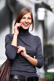 Lady talking on mobile phone Royalty Free Stock Images