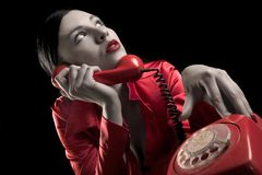 Lady is talking by phone Royalty Free Stock Photography