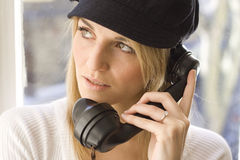 Lady talking on telephone Stock Photography