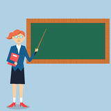 Lady teacher teaching on green board. Illustration of lady teacher teaching on green board Royalty Free Stock Photo
