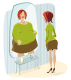 Lady terrified of her fat reflection. Slim lady sees herself as a overweight woman royalty free illustration