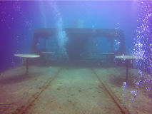Lady Thetis shipwreck, Limassol. Underwater view of lady Thetis shipwreck in Limassol, Cyprus. Sunk in February 2014 for recreational dive site Royalty Free Stock Images