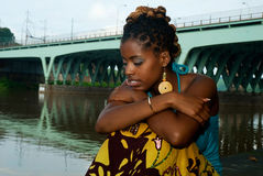 Lady thinks. African american in deep thought royalty free stock photography