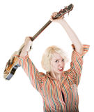 Lady Throwing a Guitar Royalty Free Stock Photo