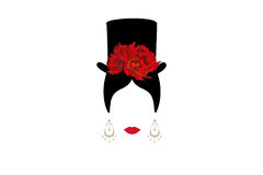Lady with top hat, Portrait of girl , modern Latin or Spanish woman in male version, Icon isolated, Vector illustration t. Lady with top hat, Portrait of girl royalty free illustration