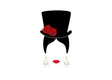 Lady with top hat, Portrait of girl  Royalty Free Stock Photos