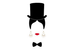 Lady with top hat, Portrait of girl with tie   Stock Images