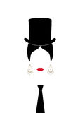 Lady with top hat, Portrait of girl with tie , modern Latin or Spanish woman in male version, Icon isolated, Vector illustration t. Ransparent background vector illustration
