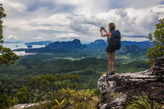 Lady on the top of mountain Royalty Free Stock Images