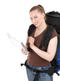 Lady tourist with backpack and map Stock Images