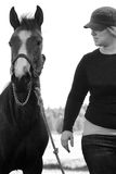 Lady Training Colt (BW) Royalty Free Stock Photos