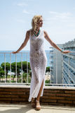 Lady in transparent  Lace Dress Stock Image