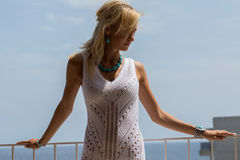 Lady in transparent  Lace Dress Royalty Free Stock Photography