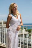Lady in transparent  Lace Dress Stock Images