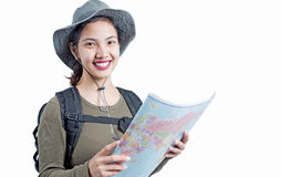 Lady in travel adventure Royalty Free Stock Photos