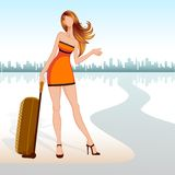 Lady with Travel Bag. Vector illustration of lady with travel bag seeking lift Royalty Free Stock Photography